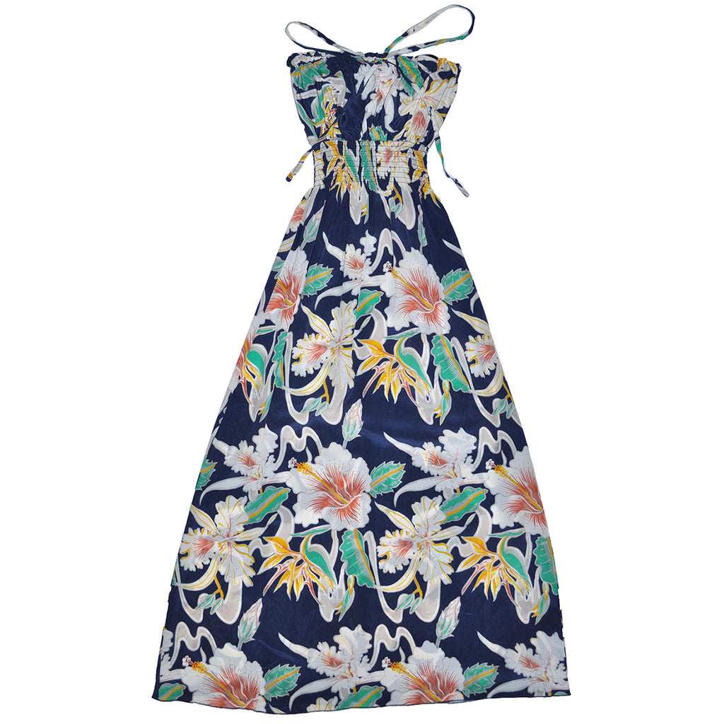 Women's Tropical Flow Long Halter Dress - Navy
