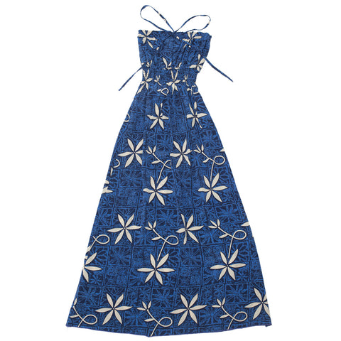 Women's Blue Hawaii Long Halter Dress