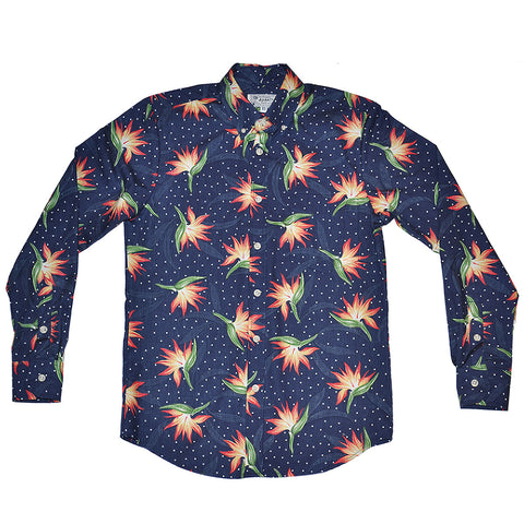 Men's Paradise Polka Long Sleeve Aloha Shirt