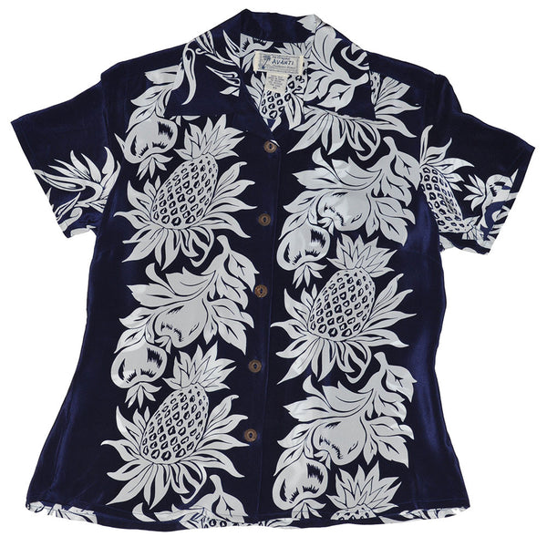 Women's Pineapple Panel Hawaiian Shirt