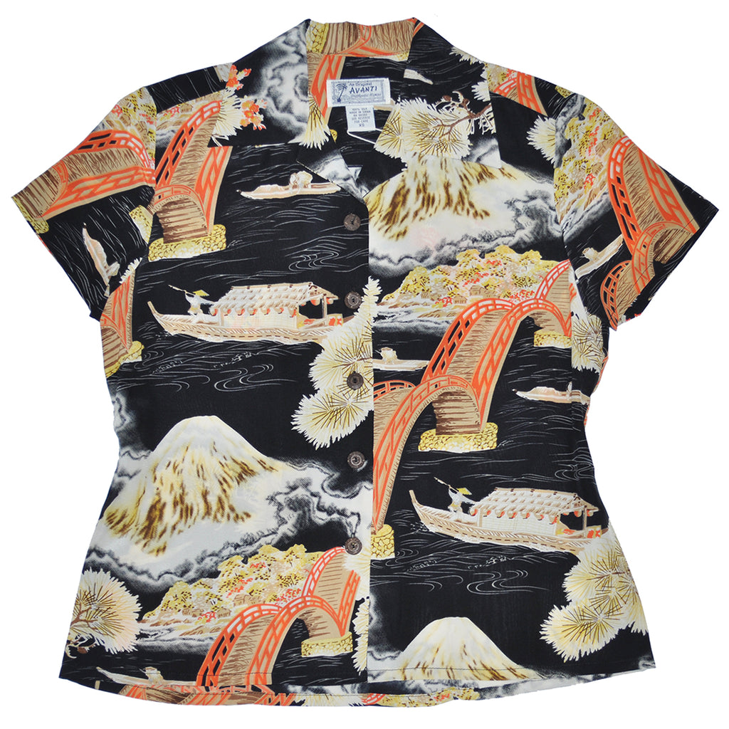 Women's Fuji Bridge Hawaiian Shirt