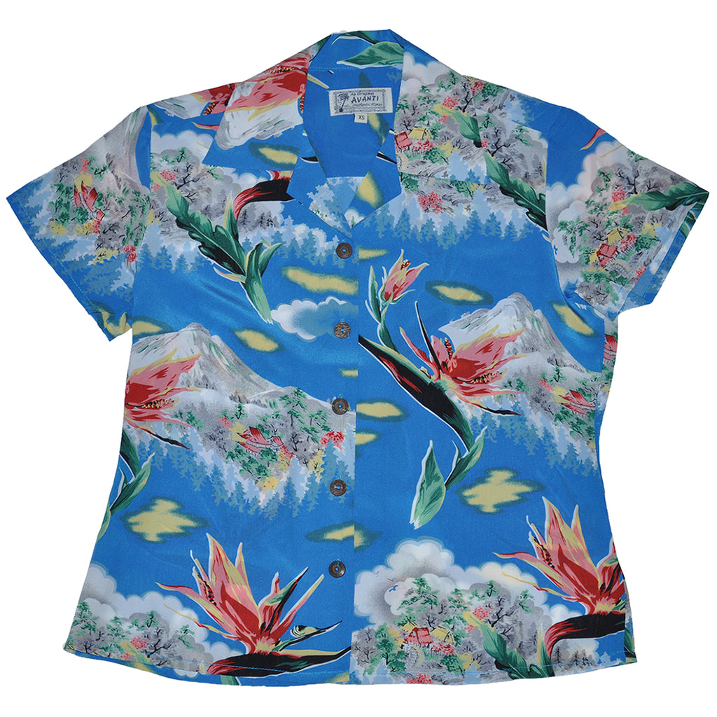 Women's Paradise Summit Hawaiian Shirt - Blue