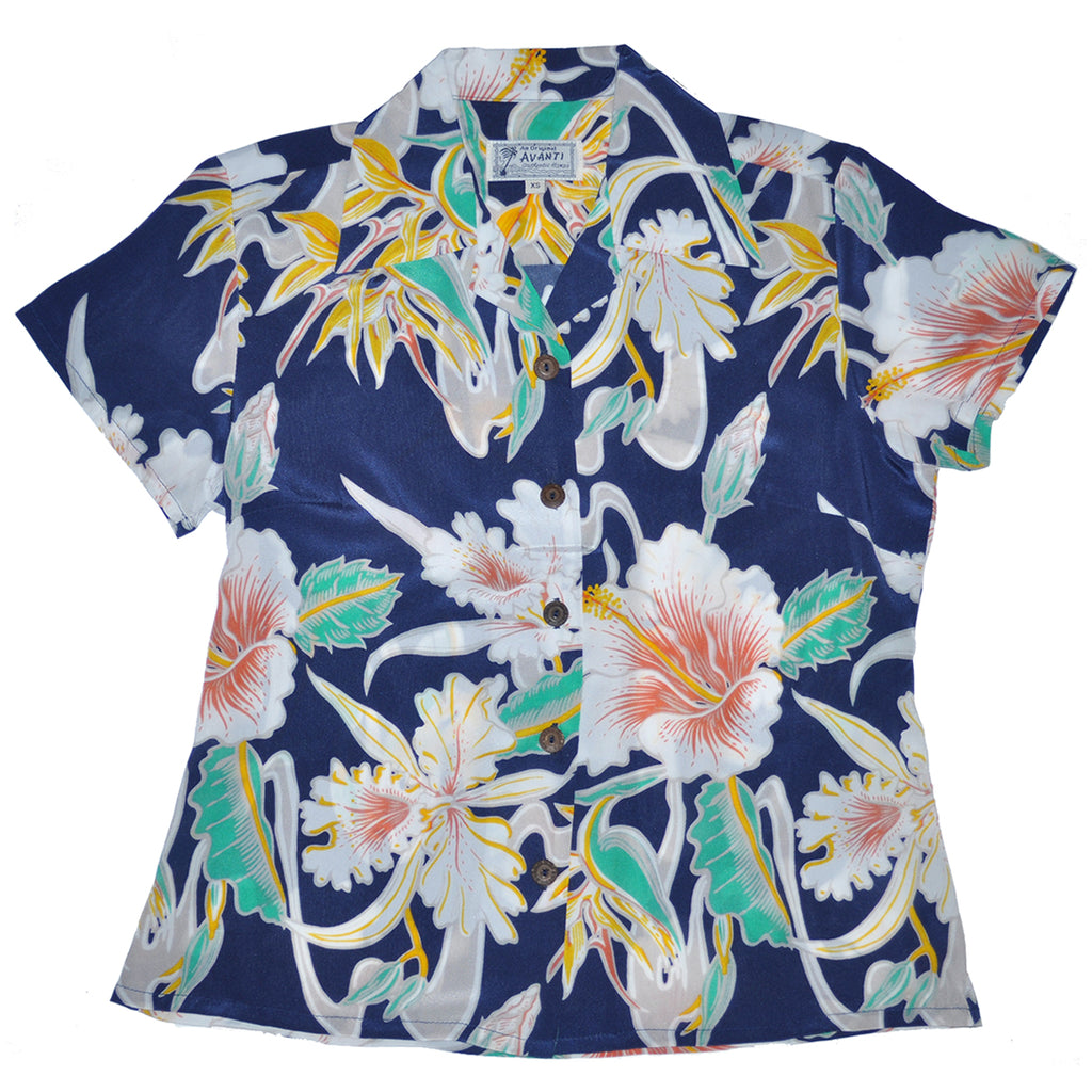 Women's Tropical Flow Hawaiian Shirt - Navy