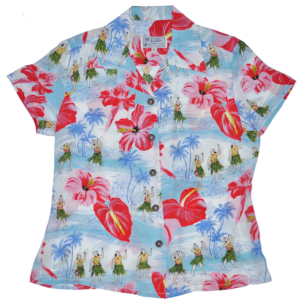 Women's Spirit of Hula Hawaiian Shirt - Blue