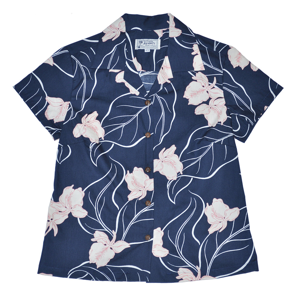 Women's White Ginger Aloha Shirt