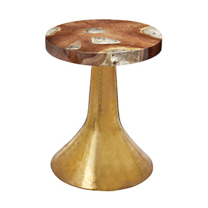 Teak & Resin Gold Base Table