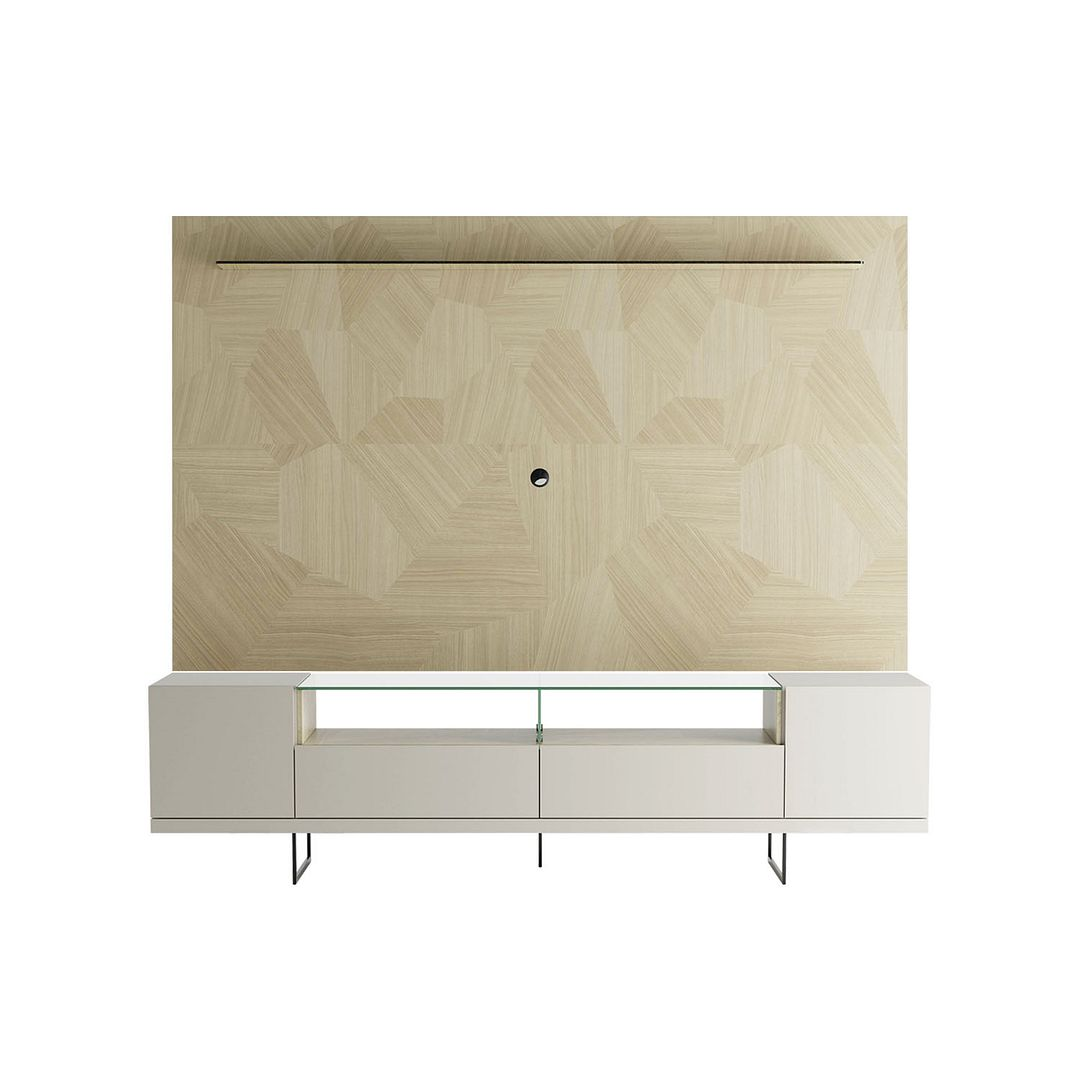 Celine TV Stand & Panel Off White and Nude Mosaic Wood