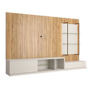 Beaumont Left Modular Entertainment Center Off White & Cinnamon Light Brown