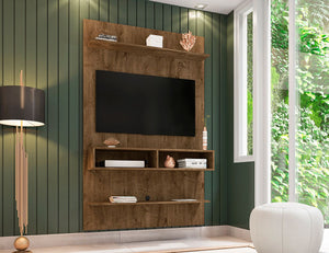 Libra Long Floating Wall Entertainment Center in Rustic Brown