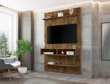 Load image into Gallery viewer, Libra Long Floating Wall Entertainment Center in Rustic Brown
