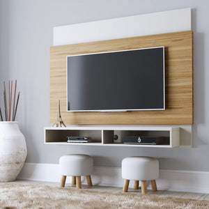 Brill Floating Entertainment Center In Cinnamon & Off White