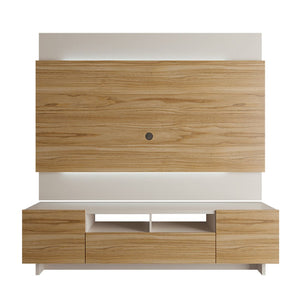 Brill 2-Piece TV Stand and TV Panel in Cinnamon and Off White