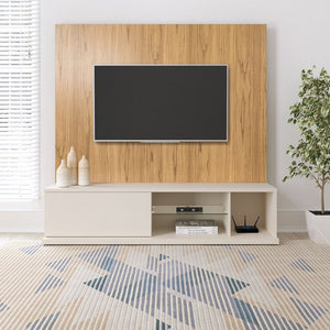 Beaumont Entertainment Center in Off White & Cinnamon Light Brown