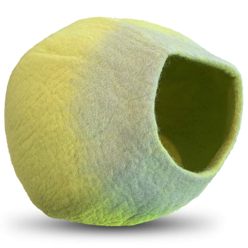 Natural Wool Large Cat, for Indoor Cozy Hideaway (Neon Yellow)