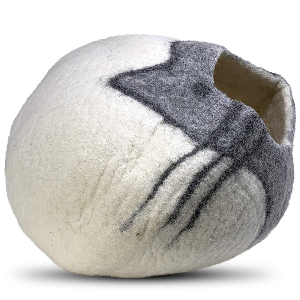 Natural Wool Large Cat, for Indoor Cozy Hideaway (Cat Face)