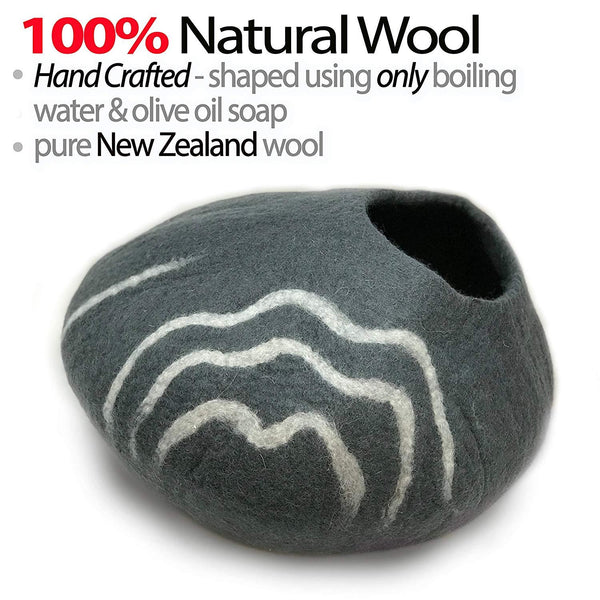 Natural Wool Large Cat, for Indoor Cozy Hideaway (DkGray)