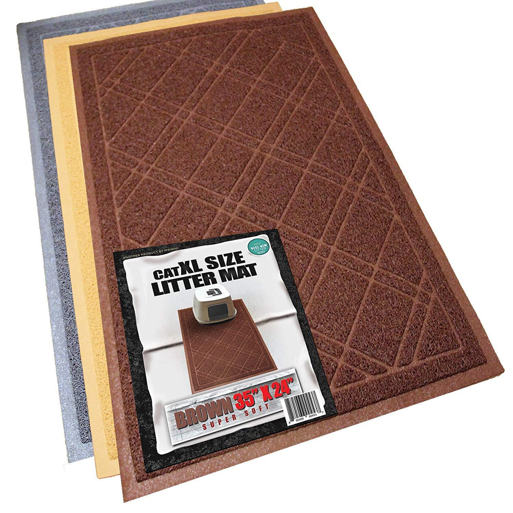 "Cat Litter Mat, Traps Litter from Paws and Box (35""x 24"",Brown)"