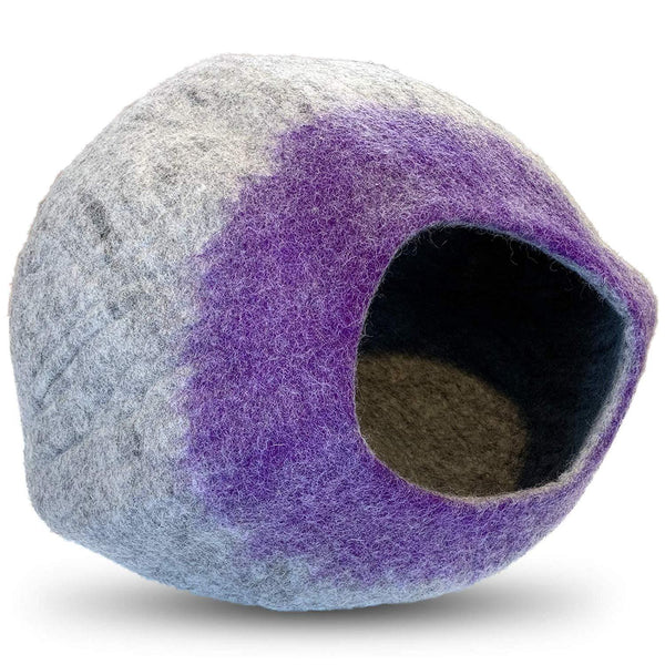 Natural Wool Large Cat, for Indoor Cozy Hideaway (Purple Tip)