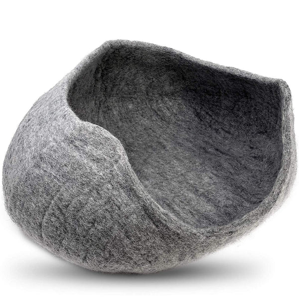 Natural Wool Large Cat, for Indoor Cozy Hideaway (Gray Big Open)
