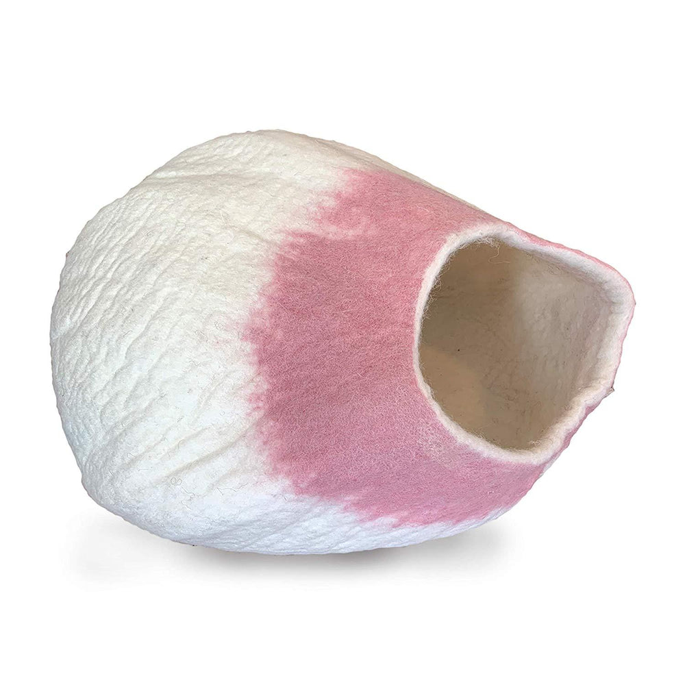 Natural Wool Large Cat, for Indoor Cozy Hideaway (Pink Tip)