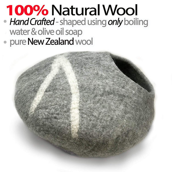 Natural Wool Large Cat, for Indoor Cozy Hideaway (Light Gray)