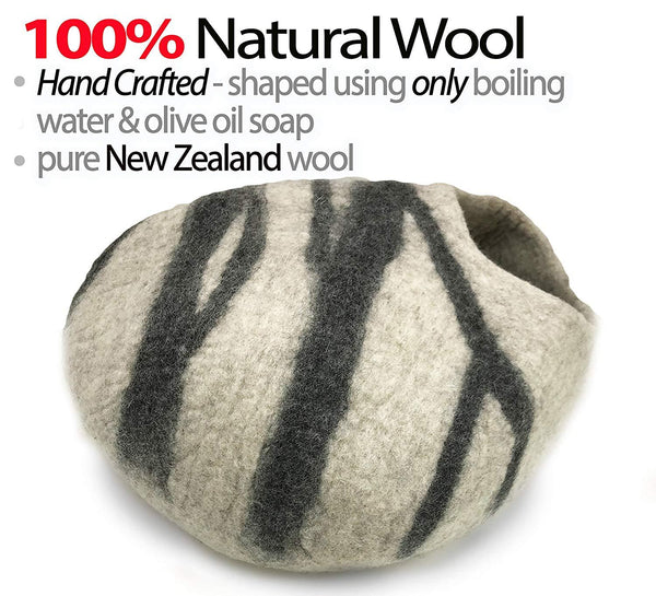 Natural Wool Large Cat, for Indoor Cozy Hideaway (Beta Gray)