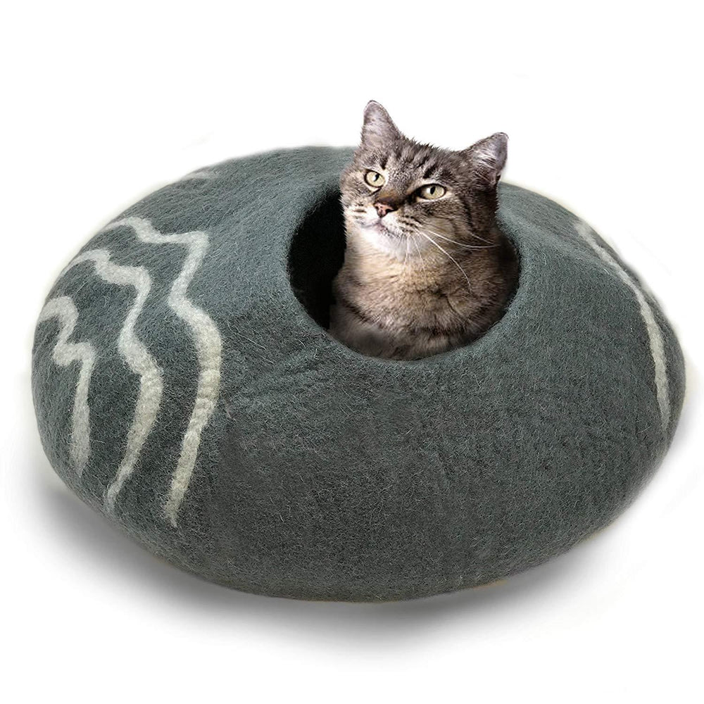 Natural Wool Large Cat, for Indoor Cozy Hideaway (Dark Gray)