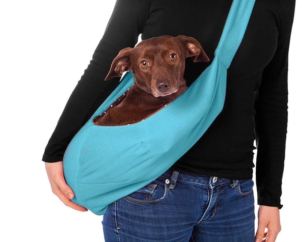 Dog and Cat Sling Carrier, for Outdoor Travel (Light Blue)