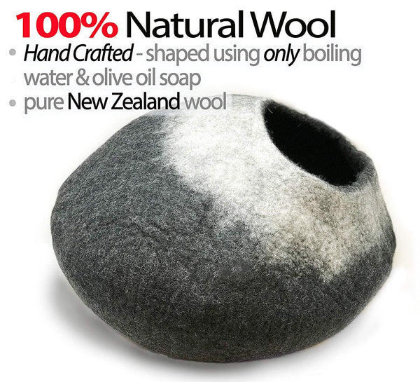 Natural Wool Large Cat, for Indoor Cozy Hideaway (White Tip)