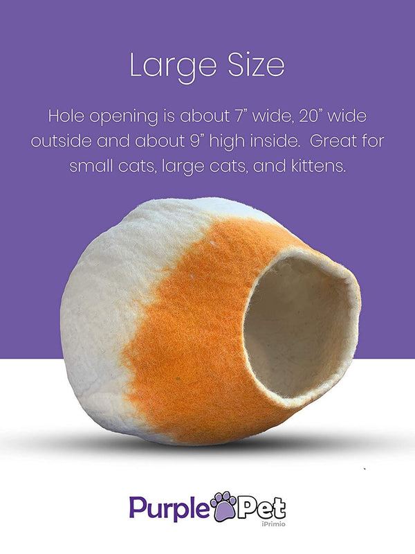 Natural Wool Large Cat Cave, for Indoor Cozy Hideaway (Orange Tip)