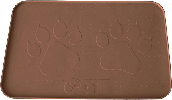 "Cat Feeding Mat, Hygienic and Safe for Allergic Cats (22""x14""), Brown"