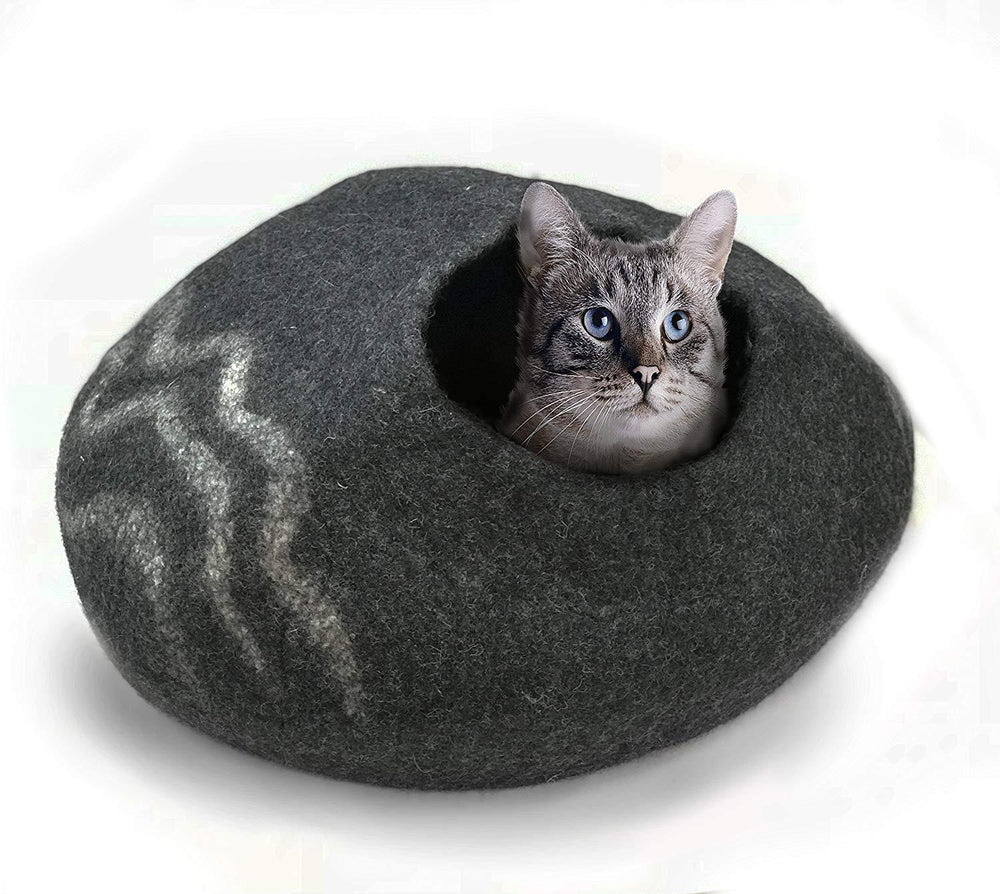 Natural Wool Large Cat, for Indoor Cozy Hideaway (Charcoal Wiggle)