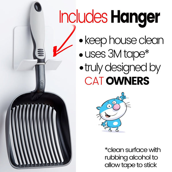 Black Cat Litter Scooper With Deep Shovel & Fast Sifter - Non Stick, Durable