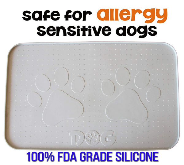 "Dog Feeding Mat, Hygienic and Safe for Allergic Dogs (22""x14"", Gray)"