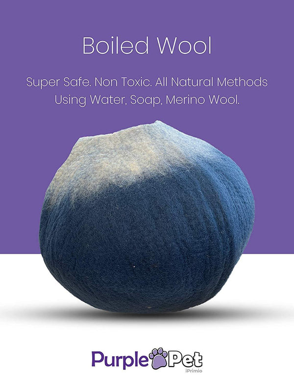 Natural Wool Large Cat, for Indoor Cozy Hideaway (Twilight Blue)