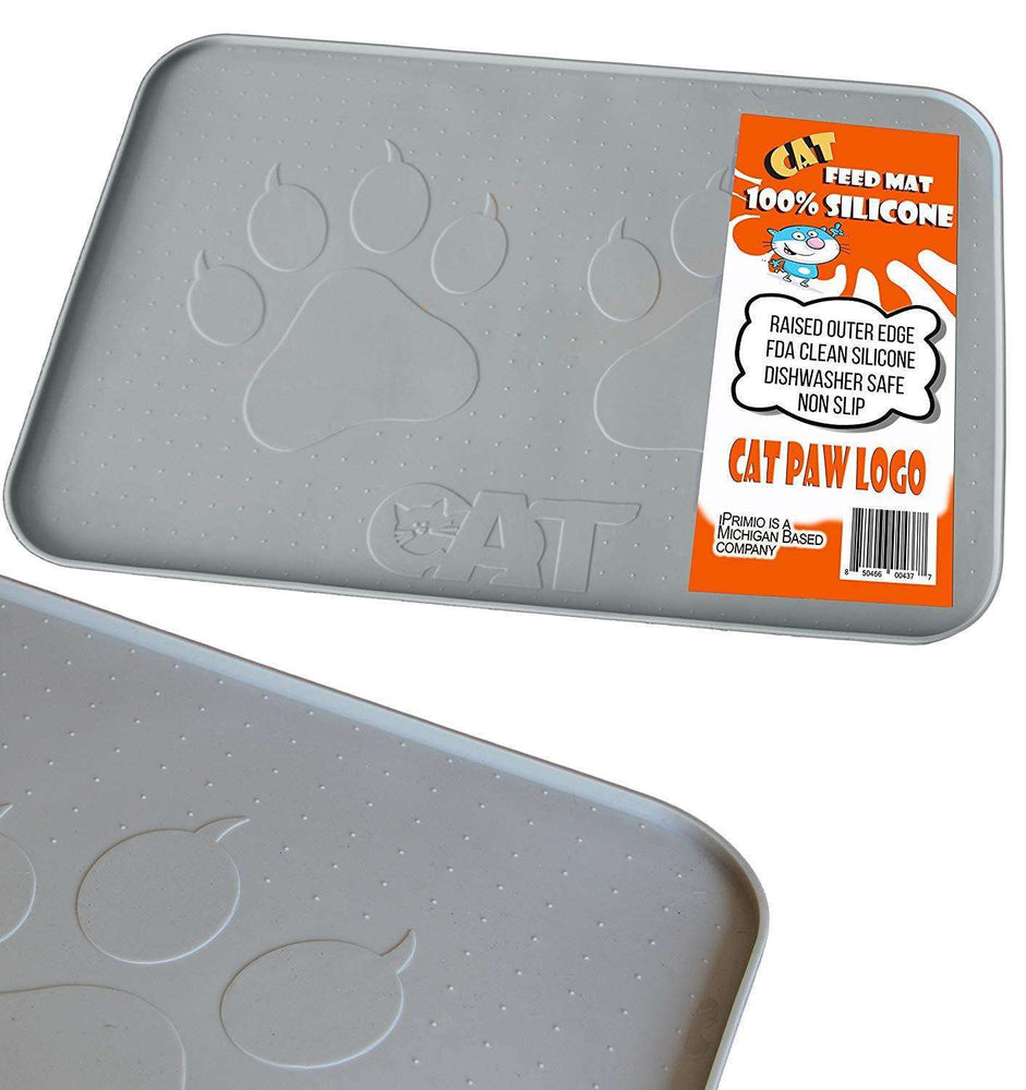 "Cat Feeding Mat, Hygienic and Safe for Allergic Cats (22""x14""), Gray"