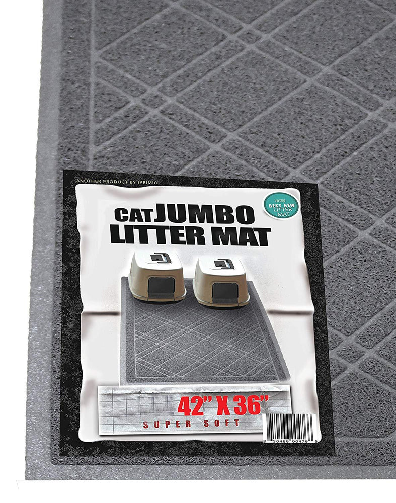 "Cat Litter Jumbo Mat,Traps Litter from Paws & Box (42"" x 36"",Gray)"