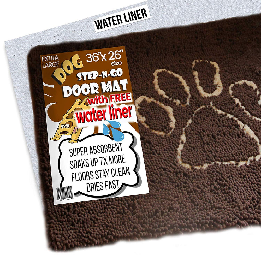 "Microfiber Door Mat, Super Absorbent (36""x26"", Brown)"
