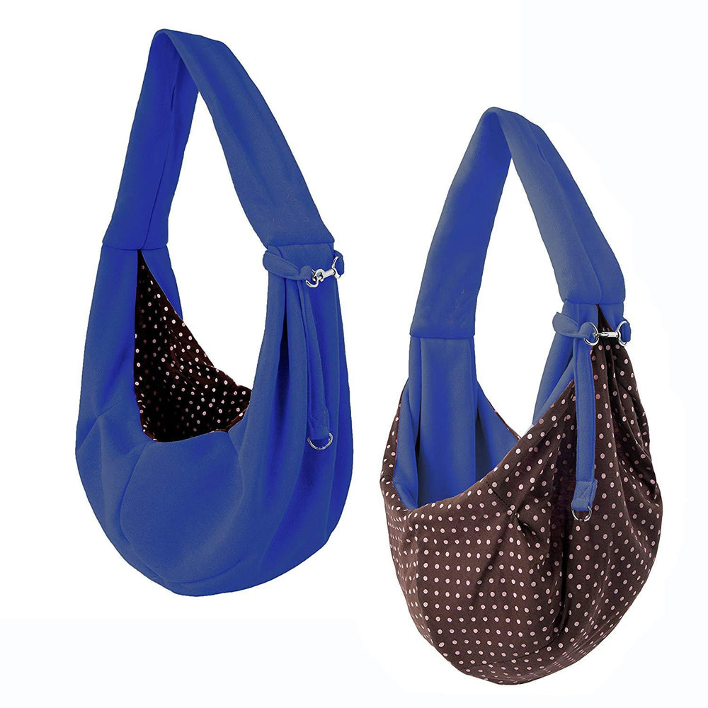Dog and Cat Sling Carrier, for Outdoor Travel (Navy Blue)