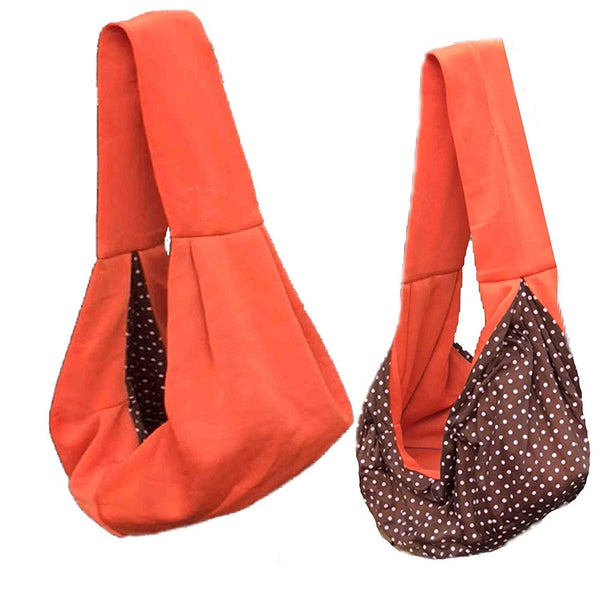 Dog and Cat Sling Carrier, for Outdoor Travel (Orange)