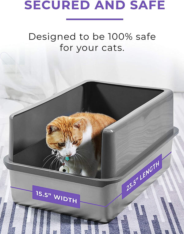 iPrimio Ultimate Stainless Steel Cat XL Litter Box - Never Absorbs Odor, Stains, or Rusts - No Residue Build Up - Easy Cleaning Litterbox Designed by Cat Owners (1 Pan)