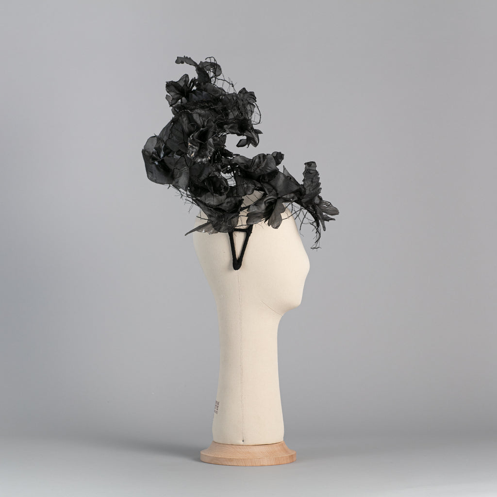 Black PVC flowers headpiece ∞ Nikole Tursi