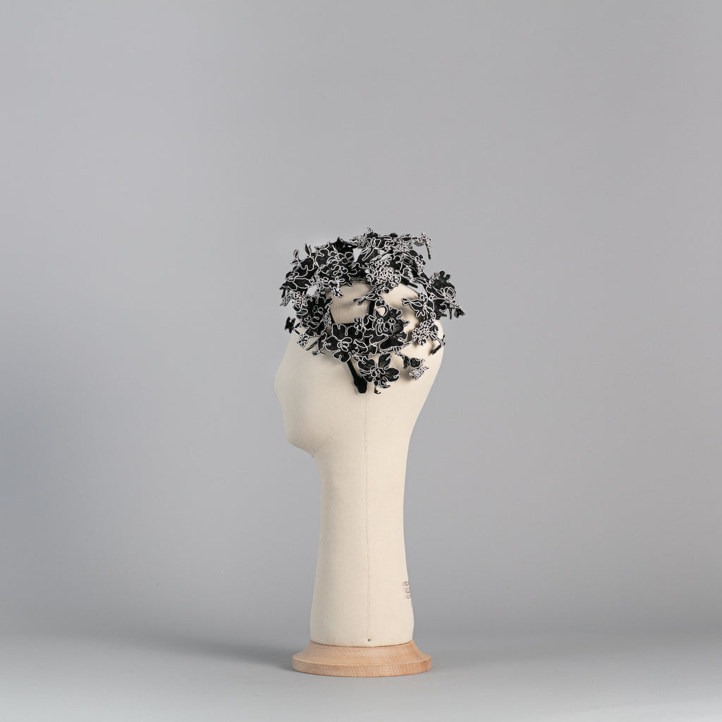 The Spiral: Black and White floral headpiece ∞ Nikole Tursi