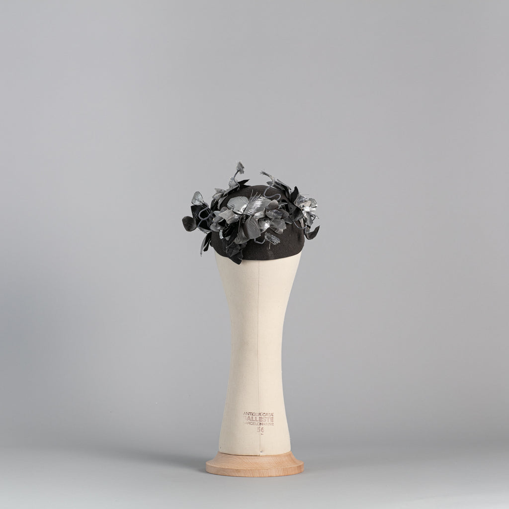 Grey and Silver Felt flowered Cap ∞ Nikole Tursi