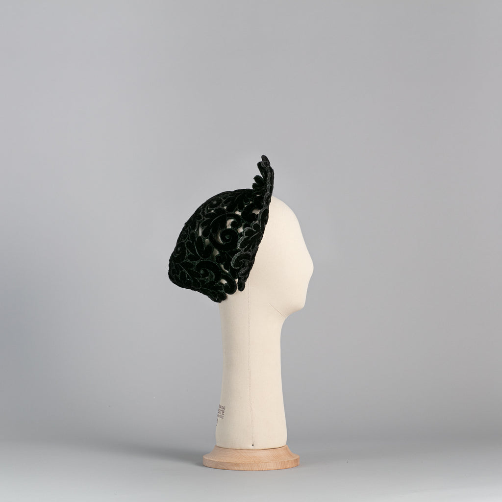 Black velvet hat and crown