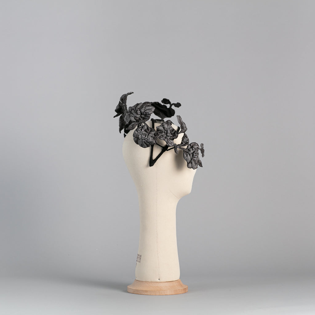 Grey and Silver Flowered Headpiece ∞ Nikole Tursi