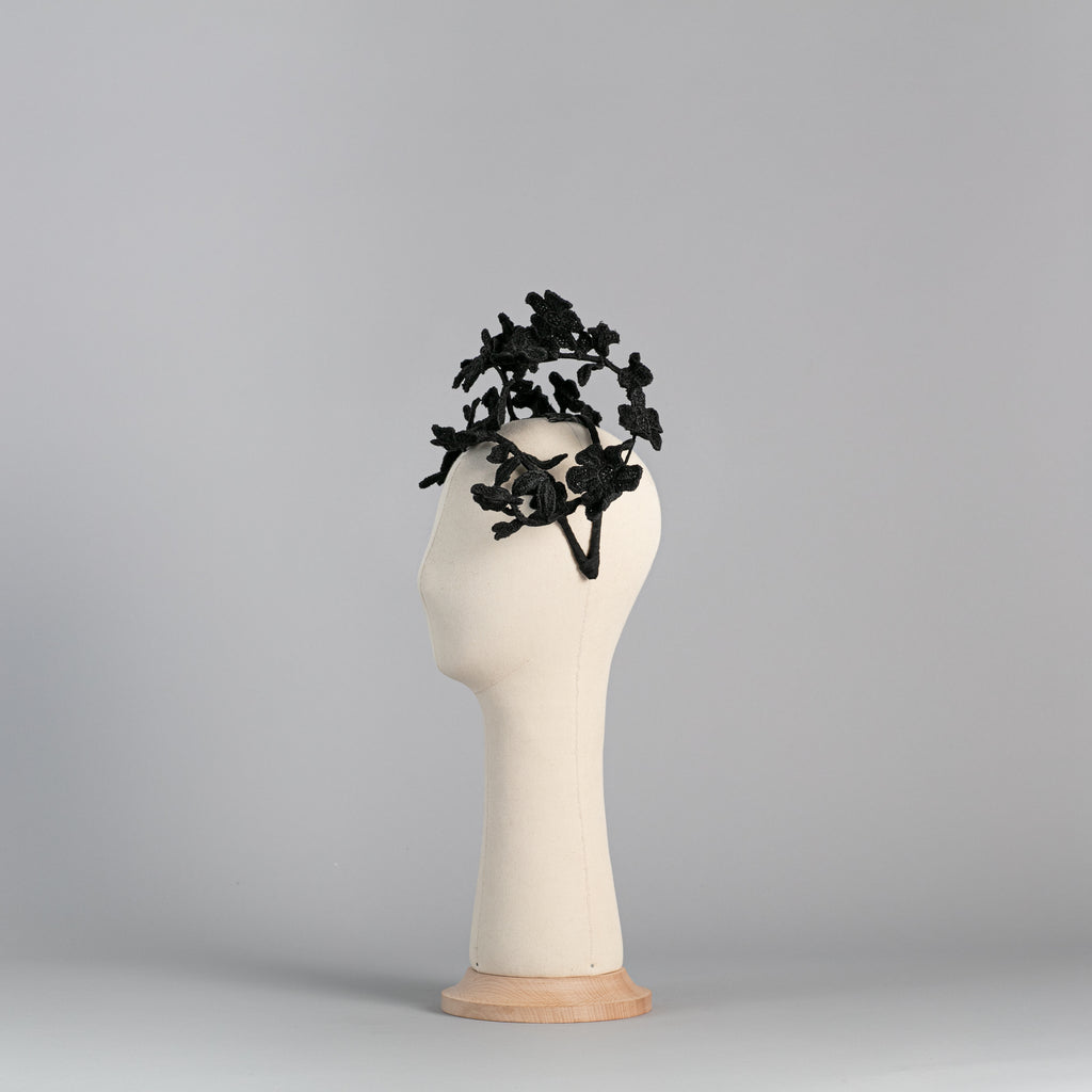 Black Flower Headpiece Guipure