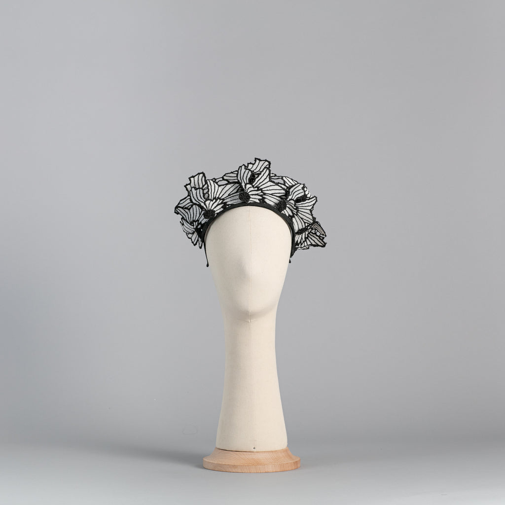 Black and white embroidered flowers headpiece