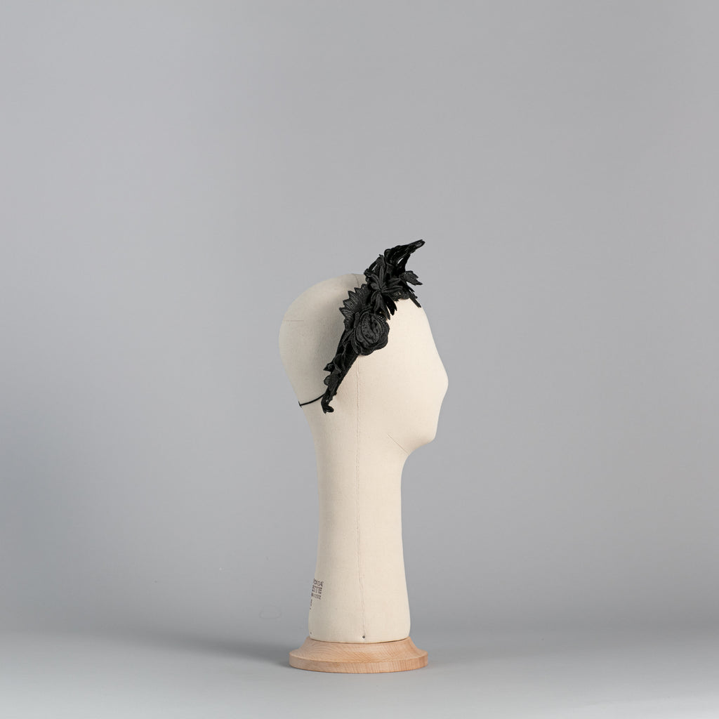 Black Flowered Headpiece