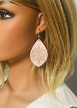 Load image into Gallery viewer, Genuine Baby Pink Leather Earrings - E19-082